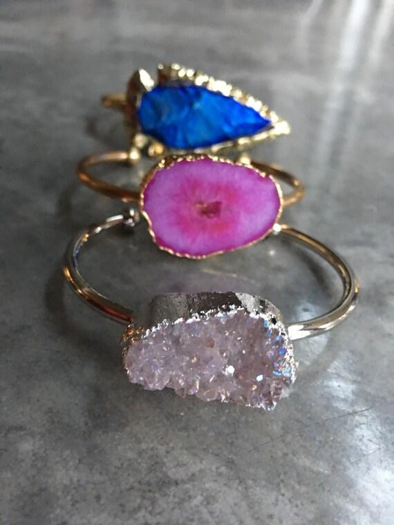 Druzy cuff bracelet, Arrowhead Bracelet, Geode cuff bracelet, boho jewelry