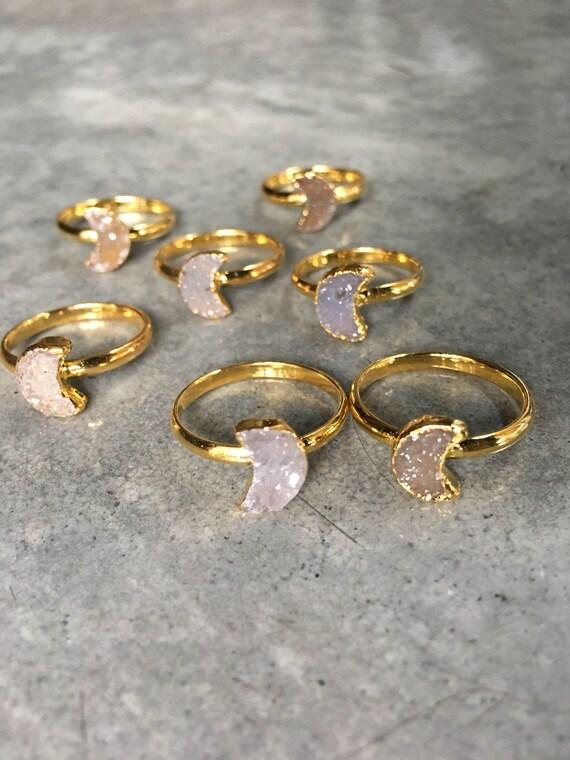 Druzy Moon rings, Druzy jewelry, Druzy rings, boho jewelry