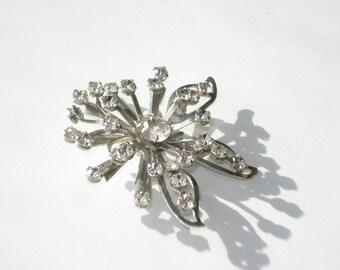 Vintage Rhinestone Brooch - Vintage Costume Jewelry Pin - Retro Silver Snowflake 1960s