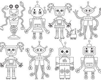 70% OFF SALE Robot Clipart - Digital Vector Robot, Robots, Gear, Boy Party, Black & White Robot Clip Art