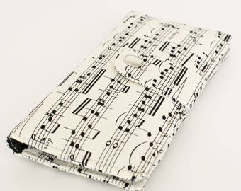 Travel Wallet, Women's Travel Wallet, Large Clutch Wallet, Women's Credit Card Wallet, Smart Phone Wallet - music notes black white cream