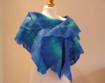 Blue Ruffle Shawl Scarf Wrap, Shibori Cobweb Felt, Hand Dyed, Textured, Warm, Soft, Light
