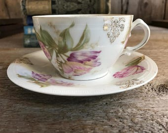 MIgnon Bavarian, Pink Roses, Mustache Cup and Saucer, Porcelain Floral Transfer, Made in Bavaria