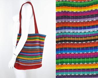 80s 90s Guatemalan Rainbow Knit Tote Bag Hippie Acid Grunge Latin American Colorful Boho Vaporwave Market Shopping Sack Sac Technicolor
