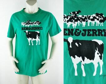 1985 Ben & Jerry's T-Shirt Size XL T Tee Shirt TShirt Ice Cream Vermont's Finest Cows Farm Double Graphic Woody Jackson Artist Art 1980s 80s