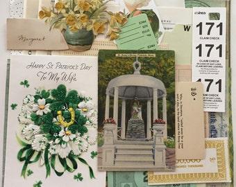 St Patricks Day Scrap Pack / Vintage Green & Gold DIY KIT St Patrick's Day Theme Ephemera for Altered Art, Mixed Media, Collage, etc.
