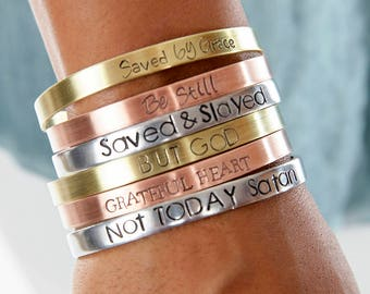 Quote Cuff | Not Today Satan Christian Cuffs | Hand Stamped Religious Cuff | Engraved Cuffs Expressions Bracelets