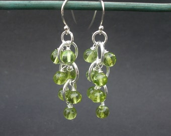 Natural Gemstone Peridot Round Beads 5.5mm, Peridot Cluster Earrings, 925 Sterling Silver, Peridot Dangle Earrings