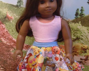 Tank Top and Emoji Skirt for american Girl Dolls