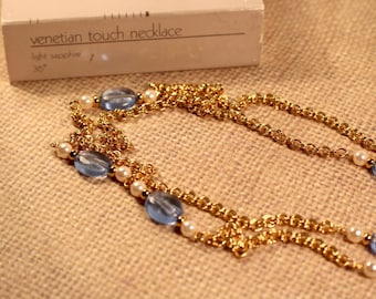Avon Venetian Touch Gold Tone and Light Sapphire Beaded Necklace - Vintage 1986