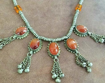 Vintage India Boho hippie Amber Agate Necklace with Bells