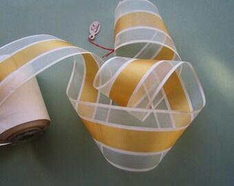 5.5 mtrs. Vintage Primrose Yellow Strip  - Millinery - Doll - Vintage Fashion - Bonnets