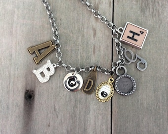 Alphabet Soup Necklace/Boho Jewelry/Statement Necklace/Letters/Industrial