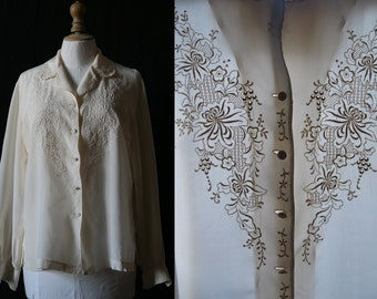 Vintage 1960's, Off white shirt long sleeves, silk, embroidered