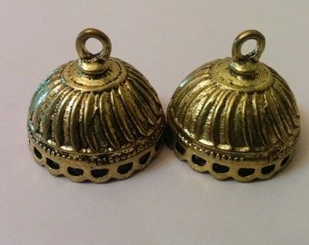 bronze  medium jhumkas or Indian hanging earring bases x 2, 21mm, free combined shipping