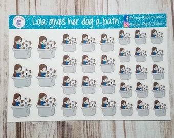 Lola gives her dog a bath, handrawn stickers