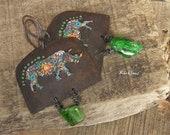 RESERVED-Tribal earrings-rustic style-vintage look-jungle pop-rhinoceros multicolor-yellow-orange-green emerald