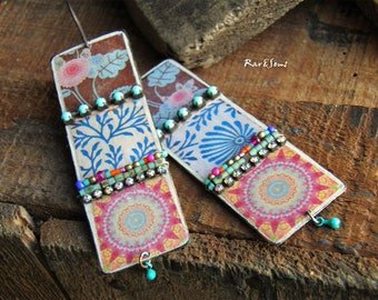 Bohemian earrings-rustic earrings-ethnic earrings-gypsy spirit,Asian style pattern,artisan copper pendant-turquoise-indigo blue,pink,orange