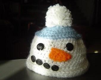 Snowman Newborn Baby Beanie Hat & Booties/Photo Prop