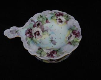 Tea Strainer: Hand Decorated Porcelain