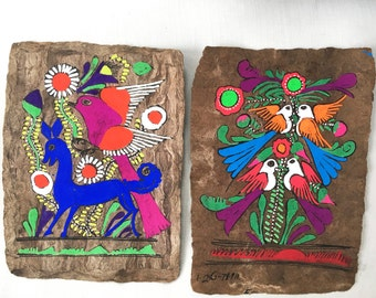 Vintage Amate Bark Paintings Set of 2 - vintage art, psychedelic - folk art - neon - mexican - mod - 1960s - tropical - funky