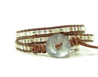 Beaded Leather Wrap Bracelet, White Silver Gold Colored Wrap Bracelet, Multicolor Seed Bead Wrap Bracelet, Beaded Bracelet