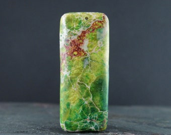 Sea sediment jasper pendant , Aqua terra, Jewelry making supplies B6586