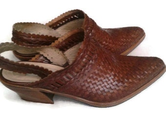 Brown woven leather mules Via Spiga size 6.5