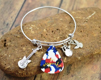 Rock Star Bangle Bracelet ~  Charm Jewelry ~ Musician Bracelet ~ Themed Bracelet ~ Birthstone Bracelet ~ Rocker Jewelry ~ Guitars/Pick/Drums