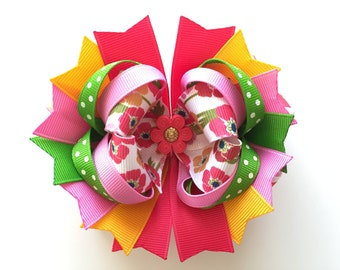 SALE! Ready To Ship Hairbow! Bright Spring Flowers Hairbow, Spring Hairbow, Boutique Hairbow, Girls Hairbow