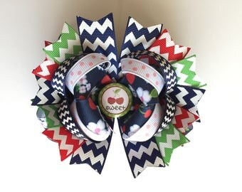 SALE! Ready To Ship Hairbow! Sweet Cherry Hairbow, Spring Hairbow, Cherry Blossoms Hairbow, Chevron Cherry Boutique Hairbow, Girls Hairbow