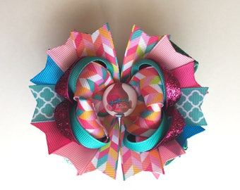 Ready To Ship Hairbow! Adorable Poppy Hairbow, Sparkly Troll Hairbow, Birthday Party Hairbow, Poppy Boutique Hairbow, Girls Hairbow