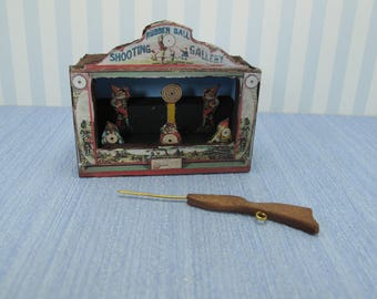 Gaël dollhouse Miniature Toys Rubber ball shooting gallery lithographed paper on wood - Handmade   Vintage  in 1:12 scale