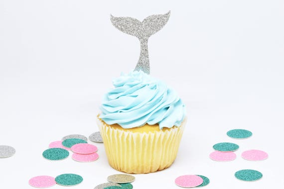 Whale Tail Cupcake Toppers - Silver Glitter - First Birthday Decor. Whale Party. Party Supplies. Bachelorette Party. Mermaid Party Decor