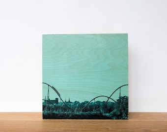 "Roller Coaster, Photo Art Block, 'Joy Ride #4' Limited Edition Image Transfer on 12""x12"" Wood Panel by Patrick Lajoie, amusement park"