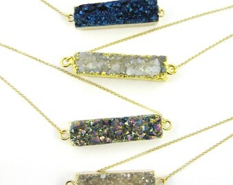 Druzy Bar Pendant Necklace - Horizontal Druzy Gemstone Bar Necklace - Druzy Agate - Gold plated Sterling Silver Necklace Chain- SKU: 692128