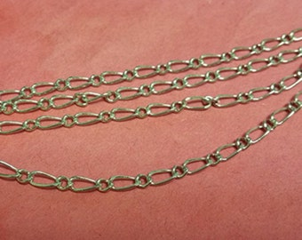 5 feet  platinum look mother and son link brass chain-F20