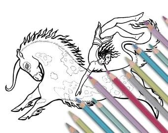 "Printable coloring page: ""Unicorn Dancer"" Instant download - PDF - Unicorn Minoan Jumper"