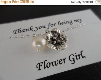 ON-SALE Flower and Pearl Necklace, Sterling Silver, Bridesmaids Gifts, Flower Girl, June Birthstone