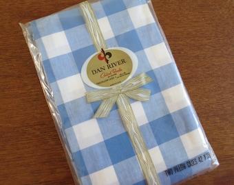 Vintage Pillowcase Pair - Blue Plaid by Dan River - Standard Size 100% Cotton Combed Percale NIP