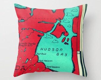 Hudson Bay Pillow Cover, Canada Map Pillow,  Vintage Hudson Bay Map Throw Pillow, Churchill, Port Nelson, Canadian Pillow, red aqua  decor,
