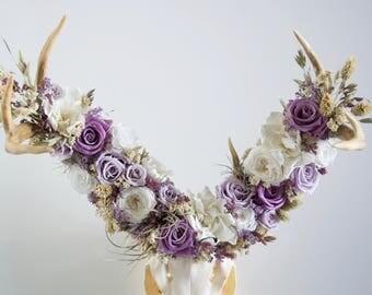 Deer Skull with Preserved Flower Crown - Wall Piece