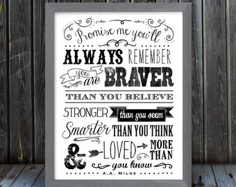 Promise me you'll always remember - Based on the A.A. Milne quote - Vertical Print - Black and White - Frame Not Included