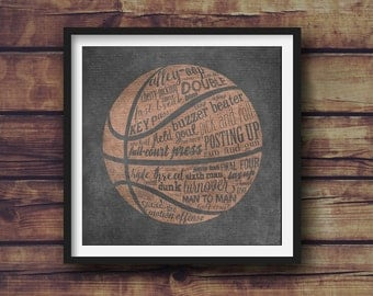 Basketball Terms - Room Decor - Variety of Sizes - Frame Not Included
