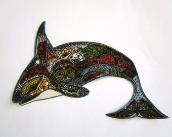 Whale Applique Iron On Patch 8""
