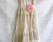 ecru & cream silk organza Quaker lace boho wedding dress by mermaid miss Kristin