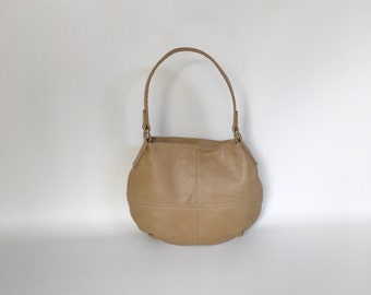 Camel Leather Hobo Bag, Women Small Purse, Casual Everyday Shoulder Handbags, Aida