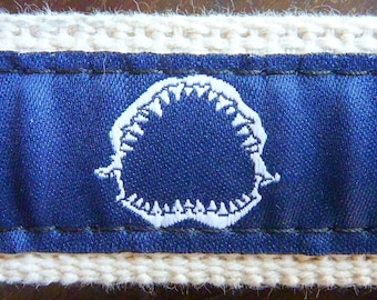 "KILLER Chatham T. Co. of Cape Cod, MA ""Shark Teeth"" Trad / Ivy League Cotton Canvas Cinch Belt Size M 32, 34, 0r (possibly) 36."