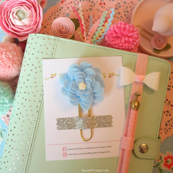 Giant Cute planner blue flower felt rose paper clip kikkik ...