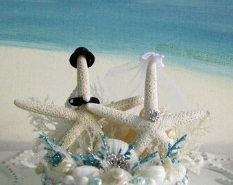 Starfish Beach Wedding Cake Topper~Seashell Wedding Cake Topper
